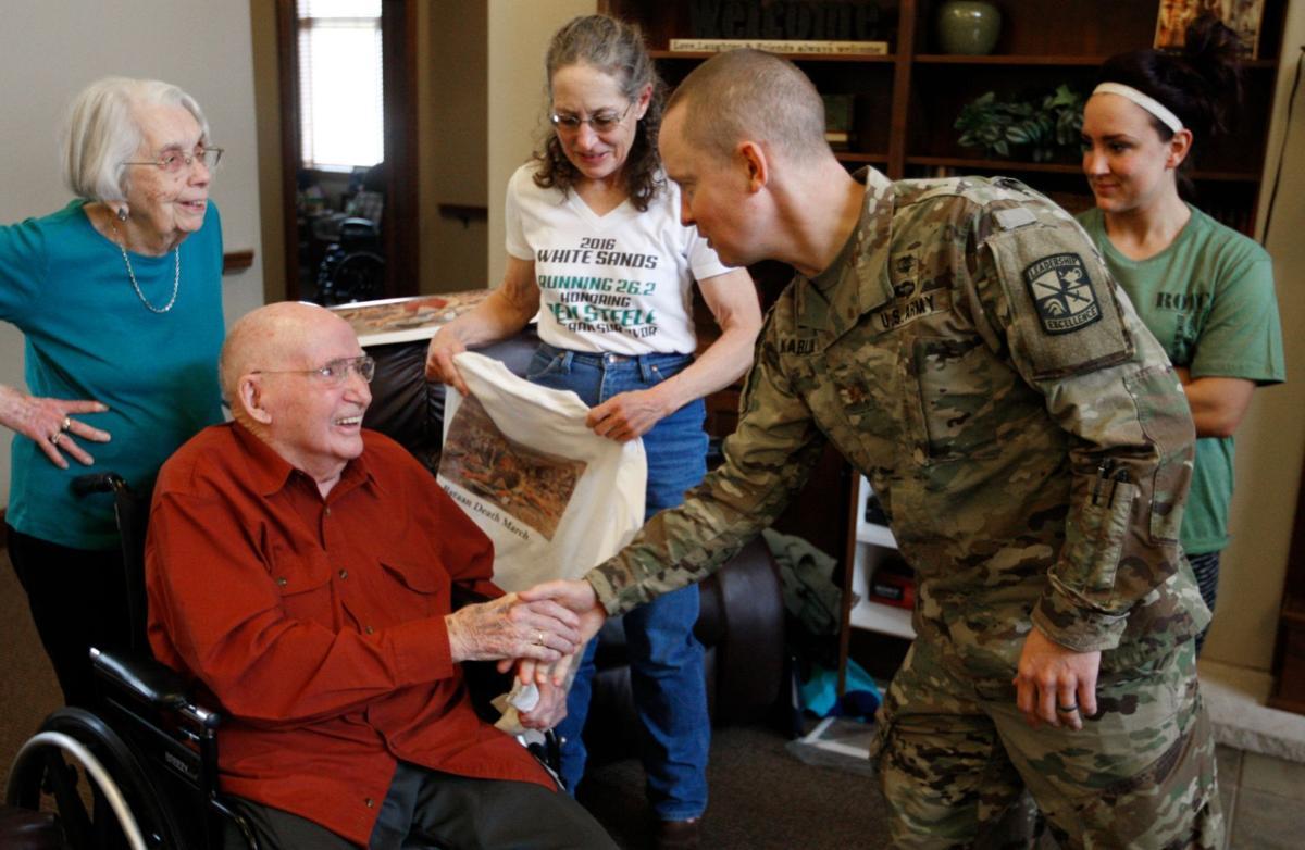 ROTC Maj. Adam Karlin meets Ben Steele and his wife Shirley