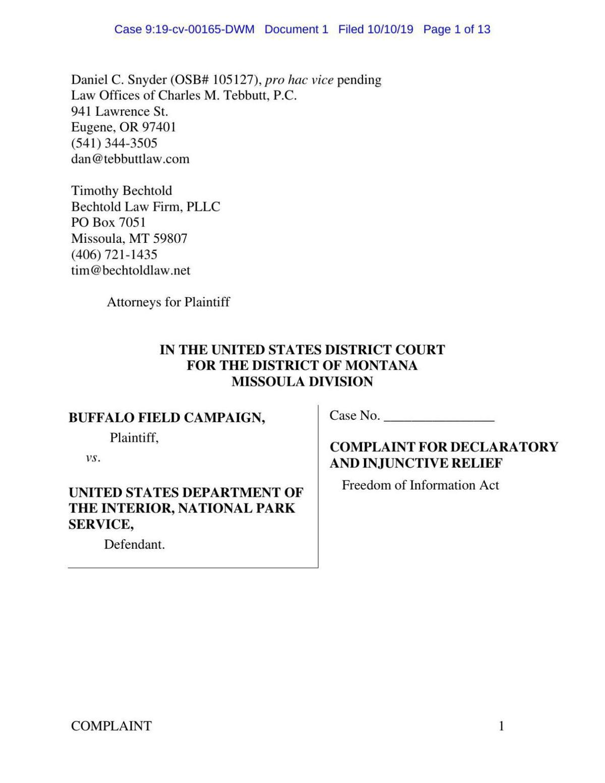 BFC lawsuit against Interior Department