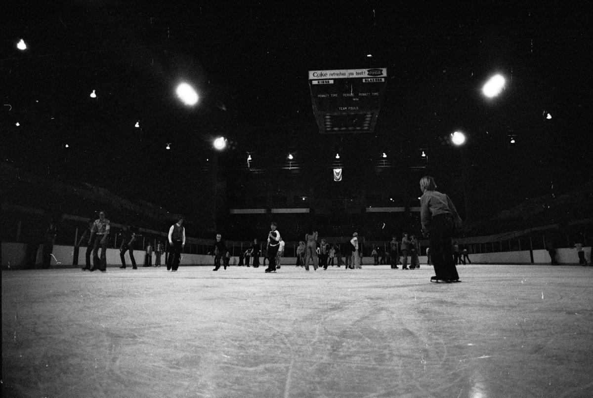 Public skating at the Metra, December 1975