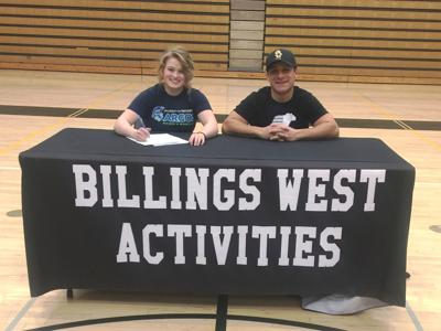 Billings West's Brooke Cicierski and Bears coach Jeremy Hernandez