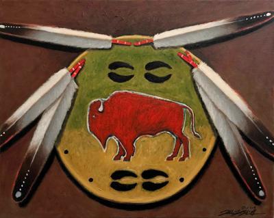 'Crow Buffalo Spirit Medicine Shield' by Allen KnowsHisGun