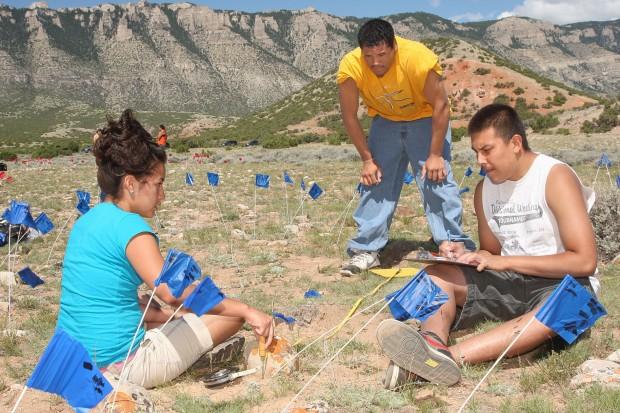 Students measure tepee rings