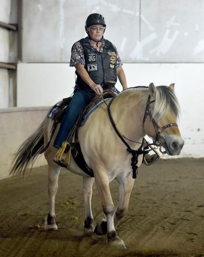 Connie Hatley rides Dot