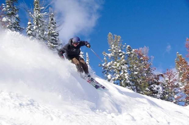 Cory Birkenbuel skis through deep powder at Lost Trail Ski Area