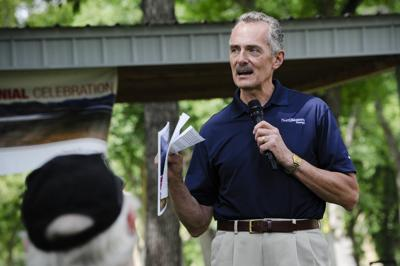 Northwestern Energy CEO Bob Rowe speaks at the centennial celebration of the Holter Dam