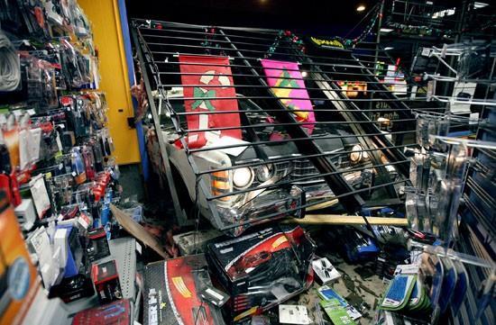 Vehicle crashes into Radio Shack store