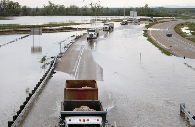 Water-covered section of I-90