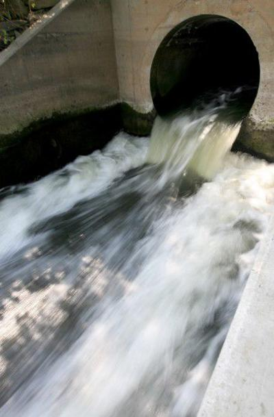 Treated water from the wastewater treatment plant