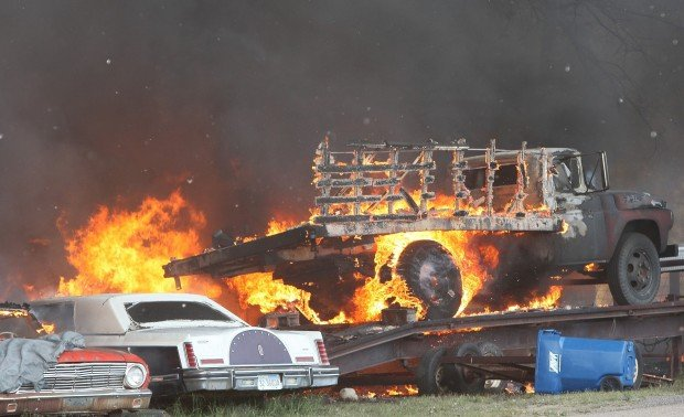 Vehicles burn