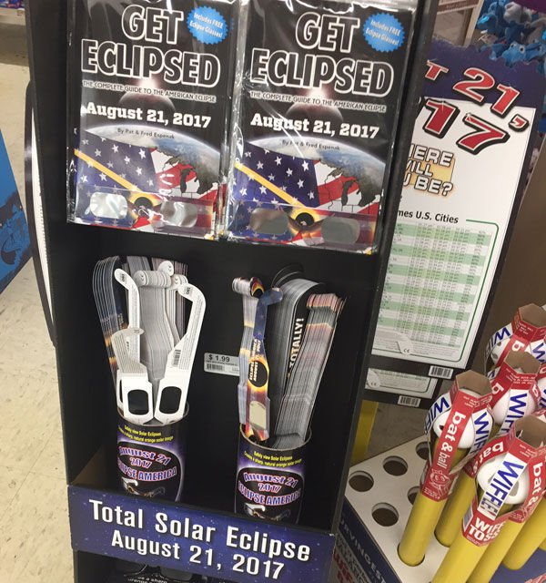 Eclipse glasses display at Ace Hardware