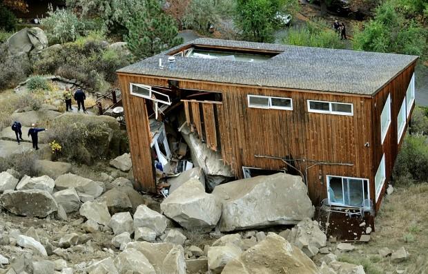 House destroyed by boulder