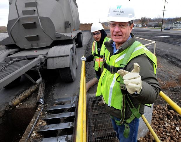U.S. Senator Max Baucus at sugar beet refinery