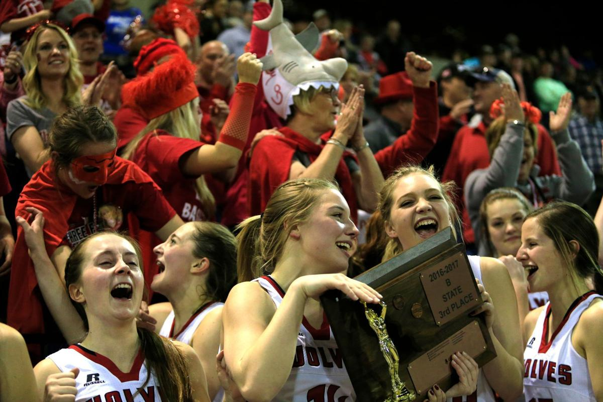 Three Forks Wolves and fans celebrate after a victory