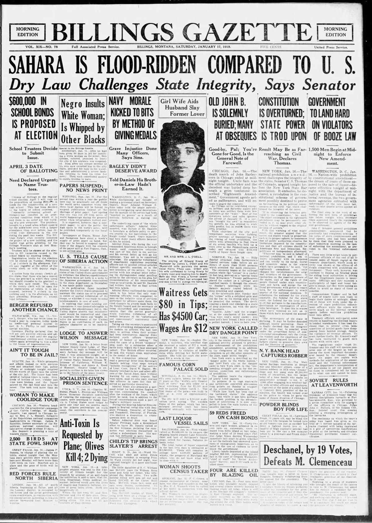 Front page of The Billings Gazette, January 17, 1920