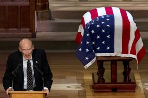 Former Wyoming Sen. Al Simpson eulogizes George Bush at national funeral