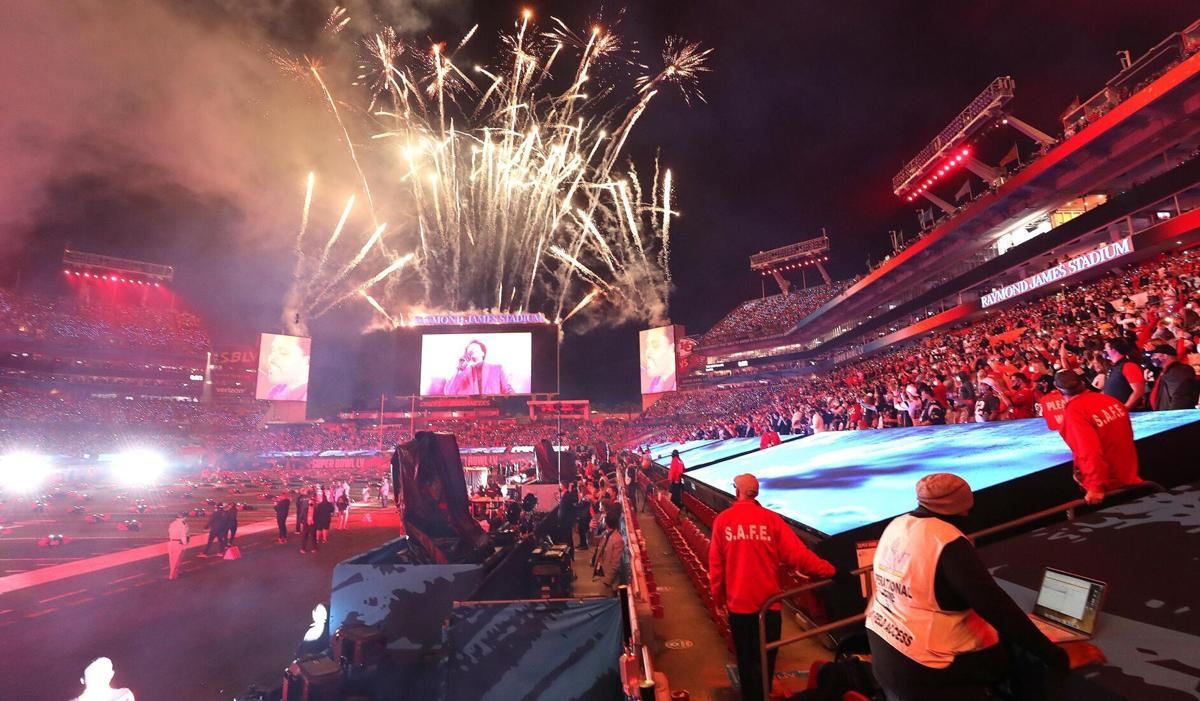 Fireworks explode during the halftime show at Super Bowl LV on Sunday, February 7, 2021 at Raymond James Stadium in Tampa, Florida.