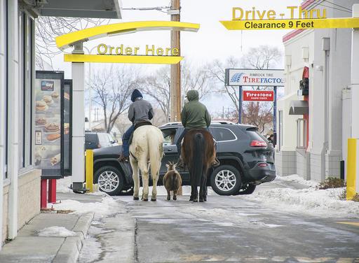 McDonald's drive-thru had some horses
