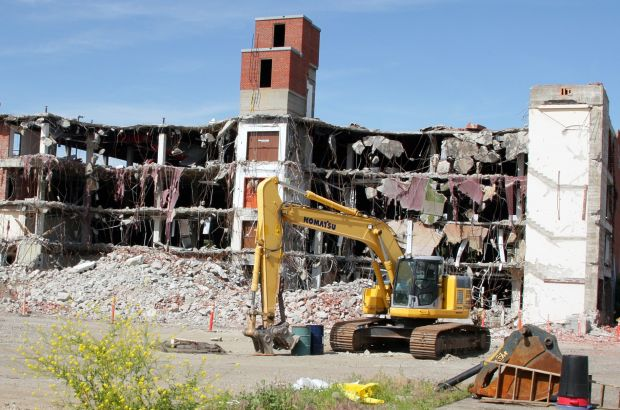 Old library sits partially demolished
