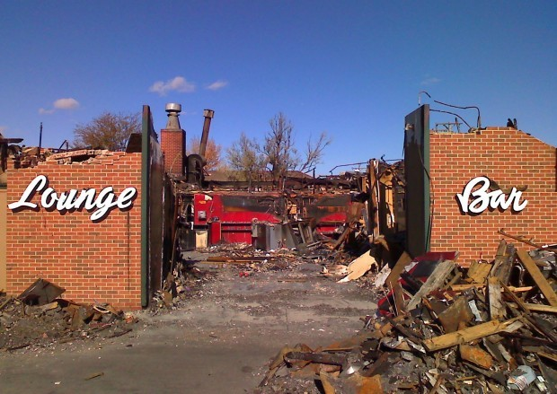 Remains of the lounge area of the legendary Hitching Post Motel