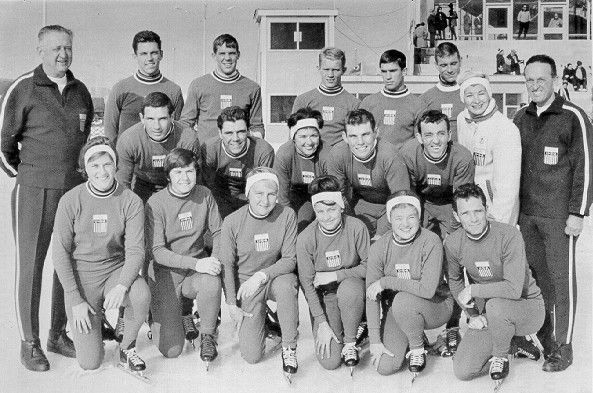 Judy Martz with 1964 Olympic Speed Skating team