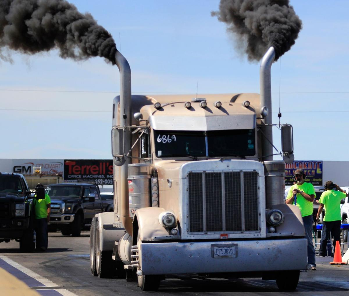 Semi truck prepares to race