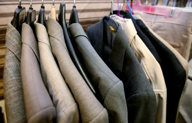 Suit coats in the Suit Up room