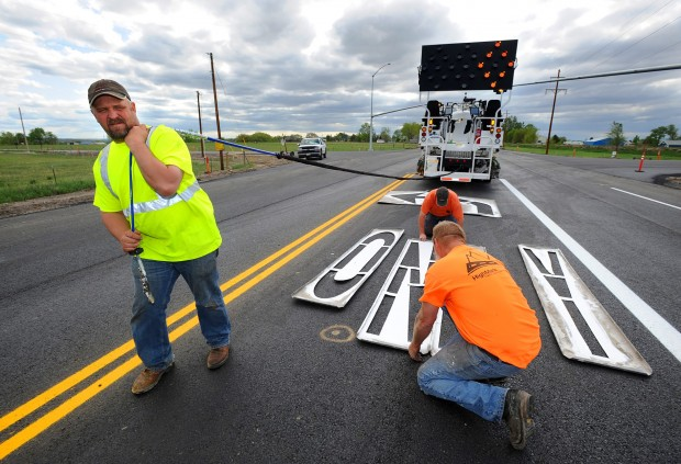 New highway surface gets paint job