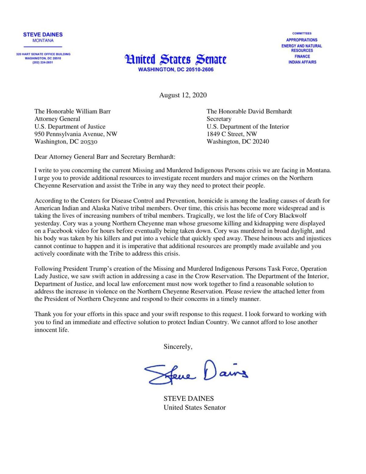Daines letter to U.S. AG William Barr
