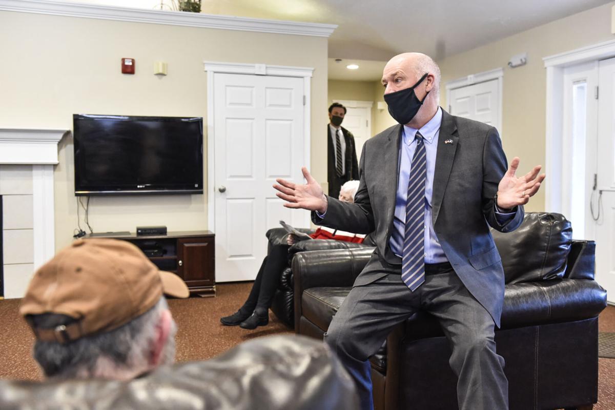Gov. Greg Gianforte talks with residents of Renaissance Senior Care