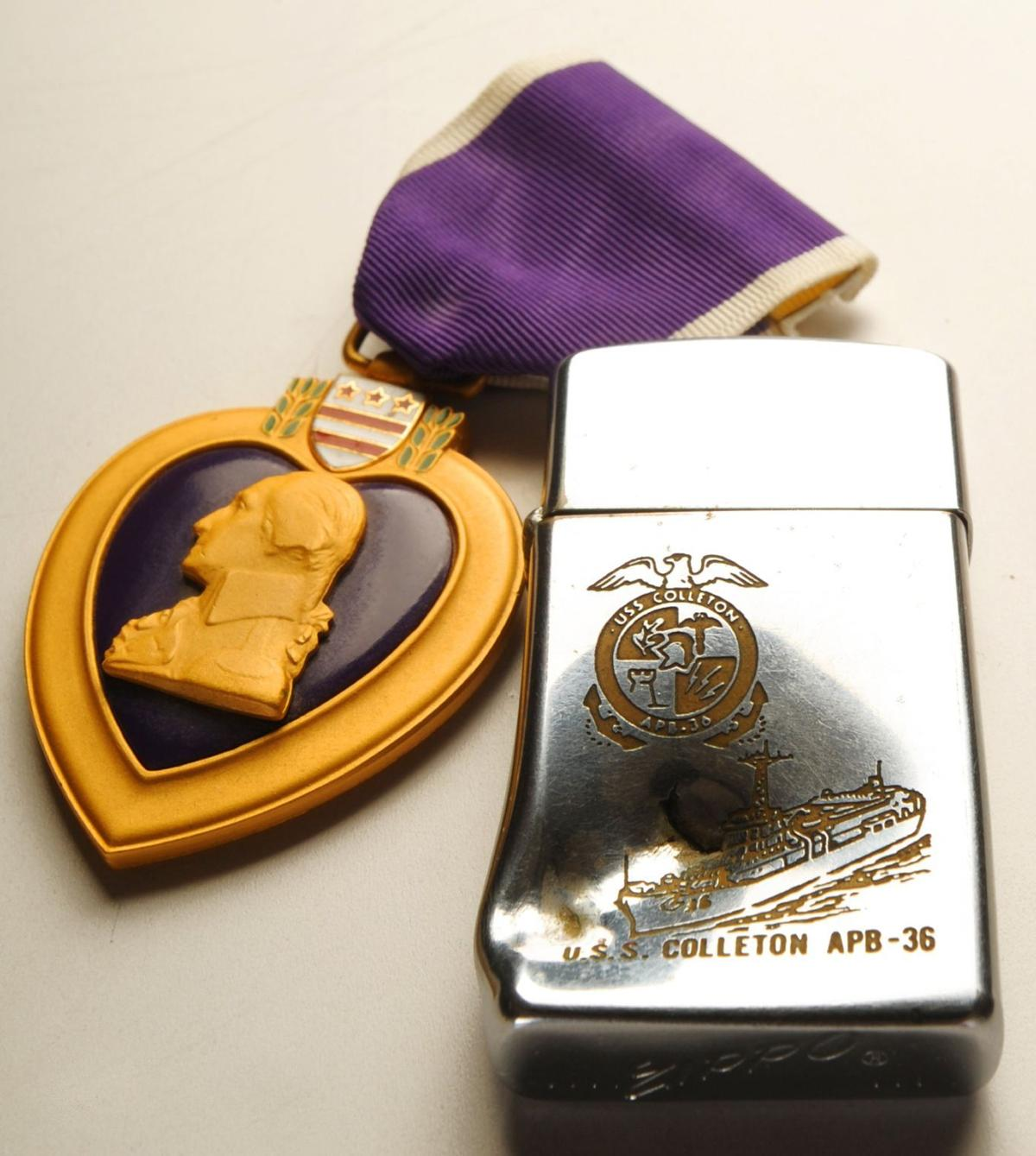 Will Crain's Purple Heart and lighter