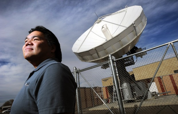 iConnect Montana general manager Andy York with satellite dish