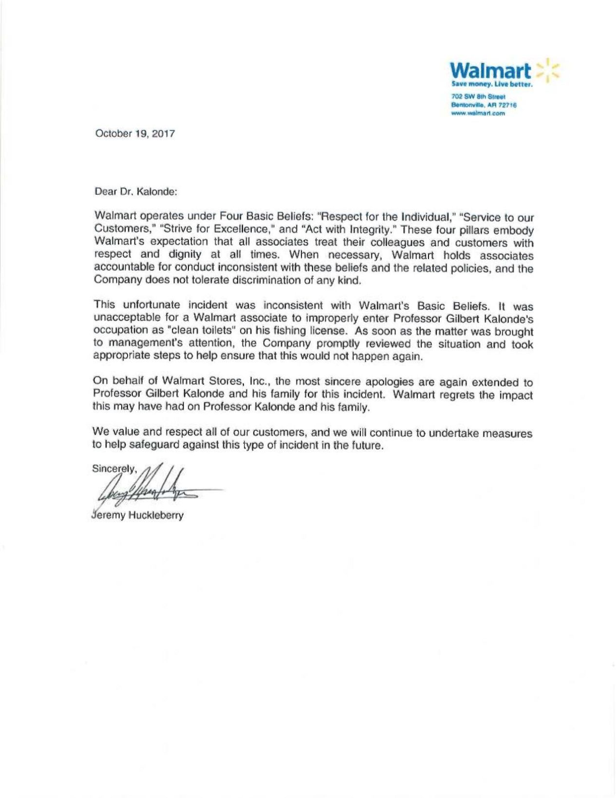 Apology letter from Walmart State Regional billingsgazettecom