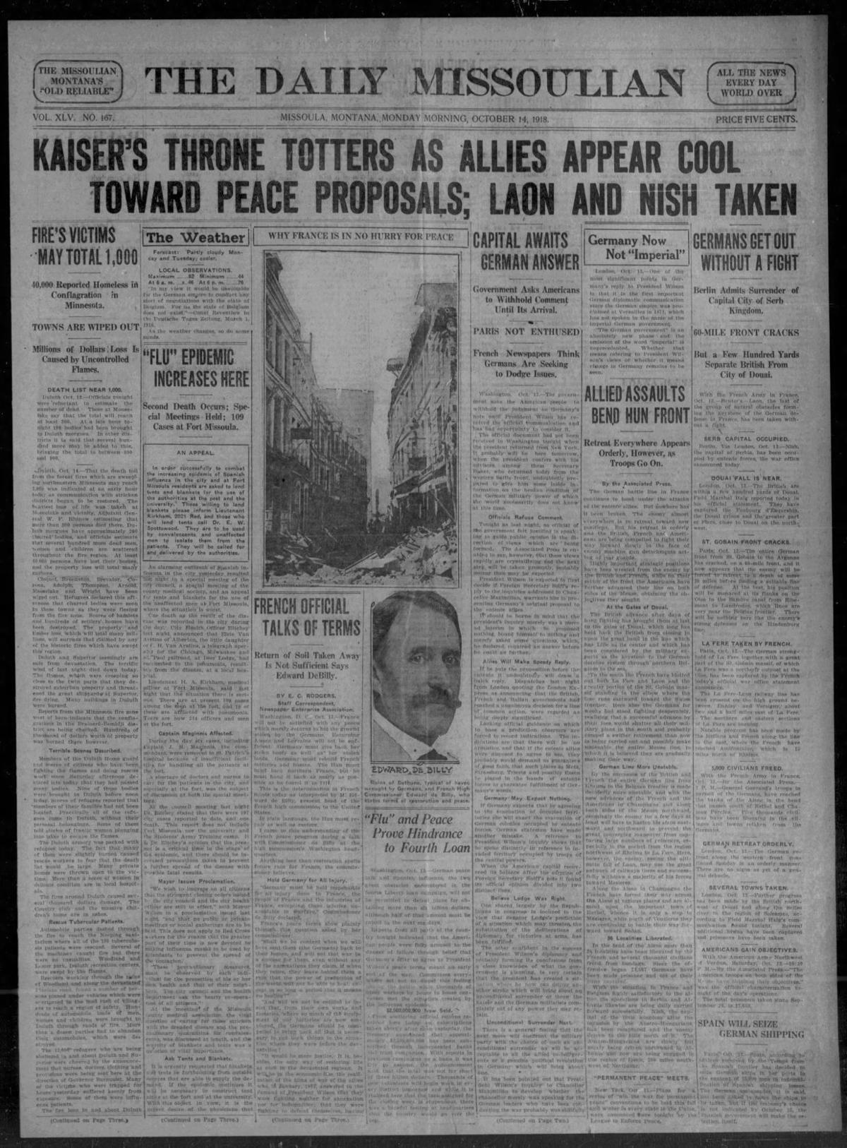 Flu Page 1 Oct. 14, 1918