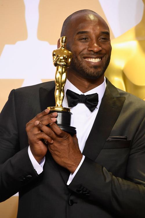 "Filmmaker Kobe Bryant, winner of the Best Animated Short Film award for ""Dear Basketball,"" poses in the press room during the 90th Annual Academy Awards at Hollywood& Highland Center on March 4, 2018 in Hollywood, California."