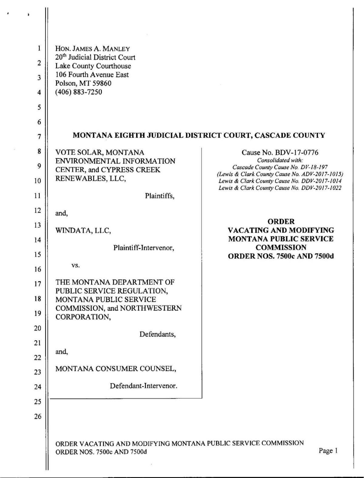 Court order: Vote Solar vs PSC, NWE