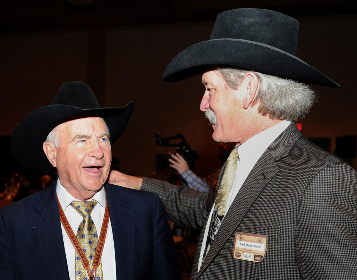 Shawn Davis shares a moment with former PRCA commissioner Karl Stressman