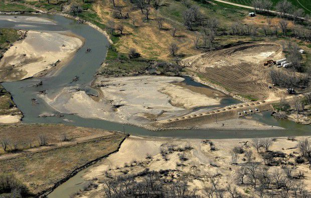 An aerial view shows where the main channel of the Musselshell River