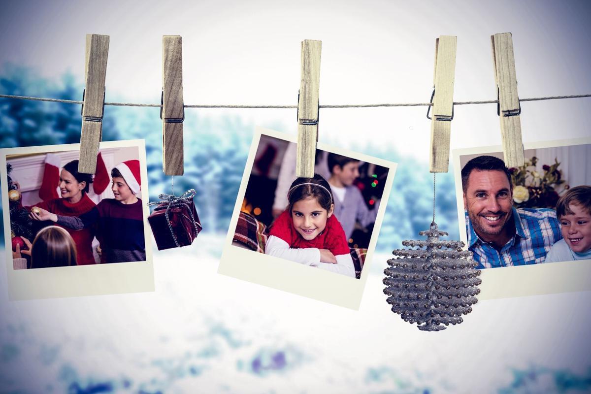 Christmas photos on a line
