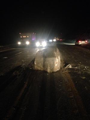 Boulder falls from Rimrocks, clips car in Billings