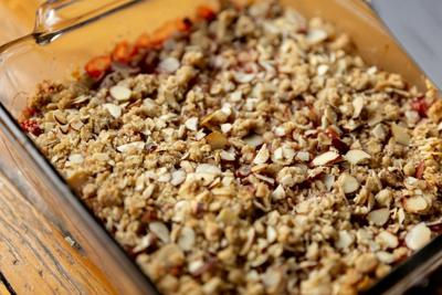 Simple and adaptable strawberry-almond crumble bars great for breakfast, a snack or even dessert