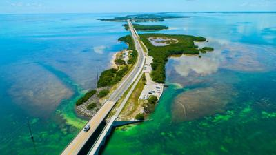 The Seven Mile Bridge in the Florida Keys, one of the top U.S. vacation destinations.