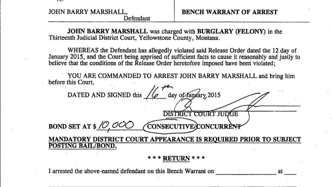 Warrant of arrest for John Barry Marshall | Crime & Courts