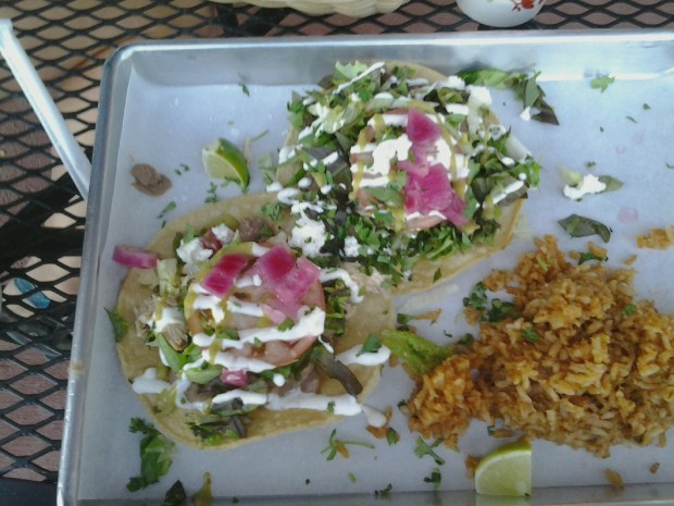 Tostadas Pollos at Mas Tacos in Red Lodge