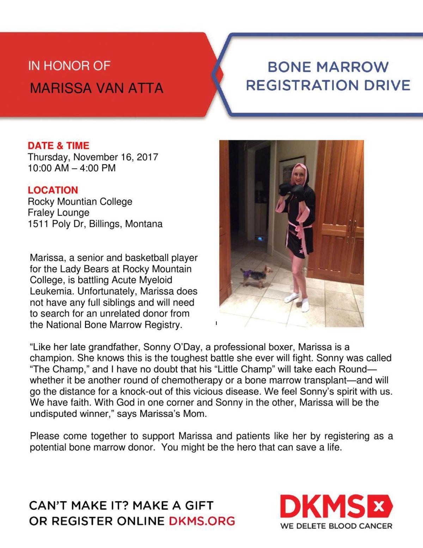 Bone marrow registration drive for Marissa Van Atta