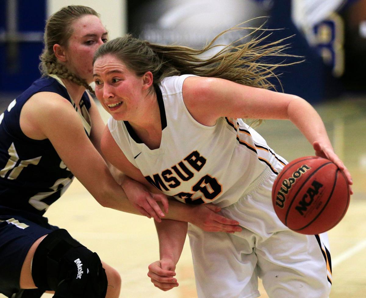 MSUB's Alisha Breen drives to the basket