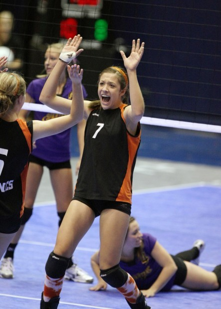 Jace Henderson of Billings Senior celebrates a point against Missoula Sentinel