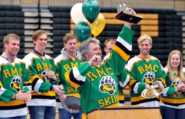 Rocky Mountain College Ski Team coach Jerry Wolf celebrates