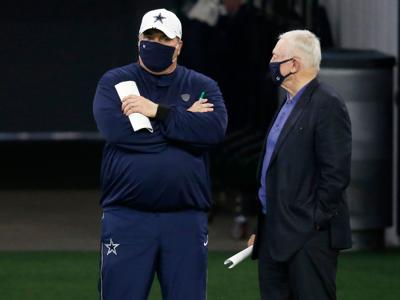 Dallas Cowboys head coach Mike McCarthy talks to Dallas Cowboys owner and general manager Jerry Jones on the sidelines in practice during training camp at the Dallas Cowboys headquarters at The Star in Frisco, Texas on Monday, Aug. 31, 2020.