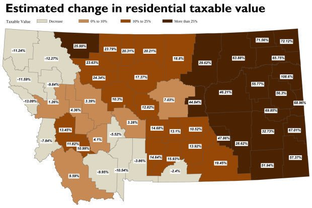 Estimated change in residential taxable value