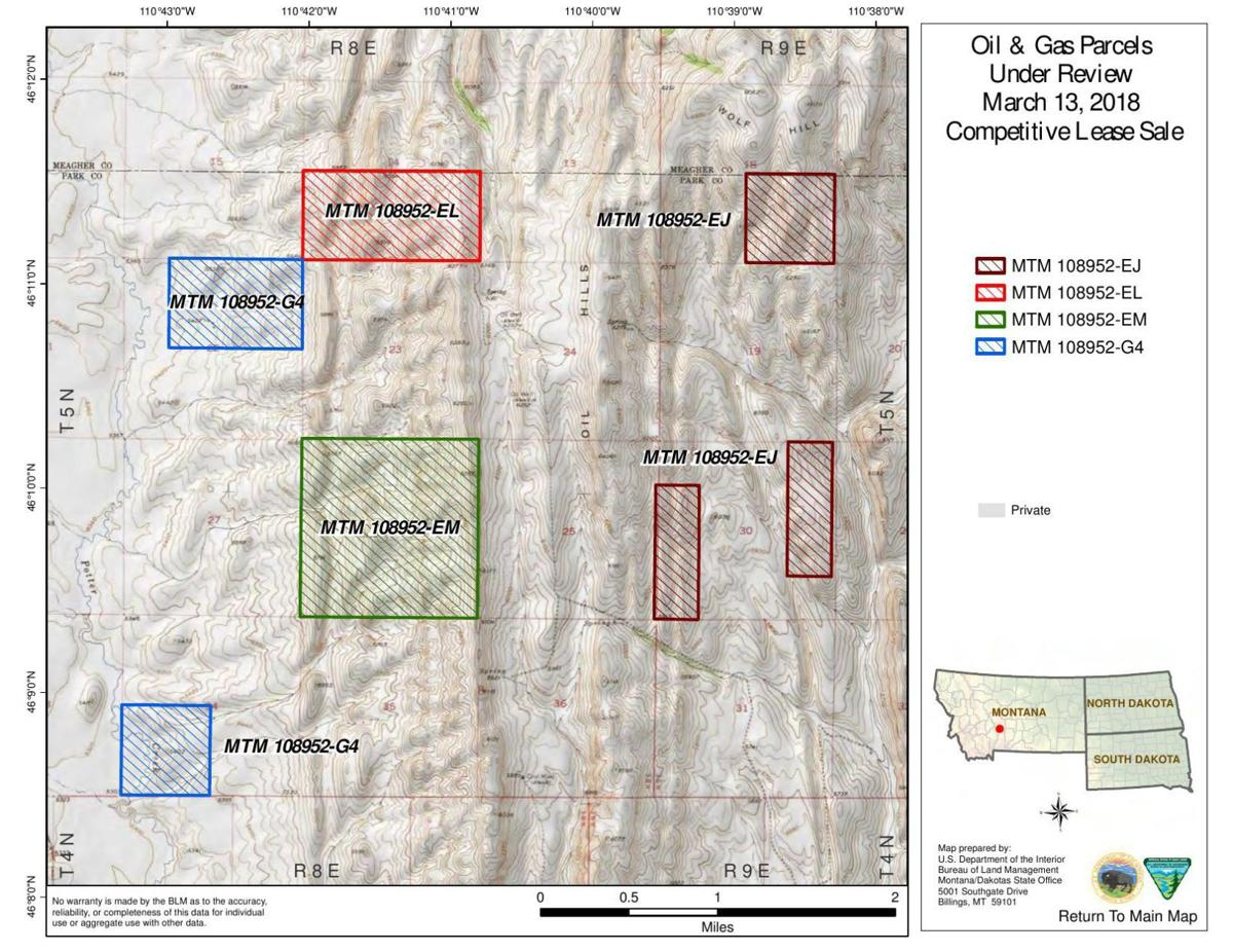 BLM oil and gas parcels near Livingston